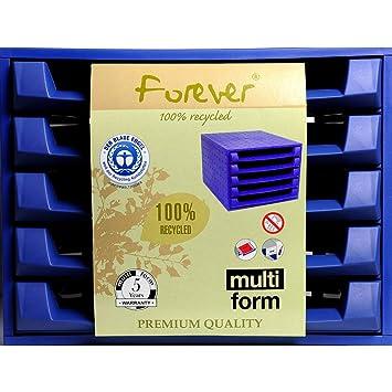 Multiform 221101D Forever - Cajonera de escritorio (5 bandejas, tamaño A4 holgado, plástico