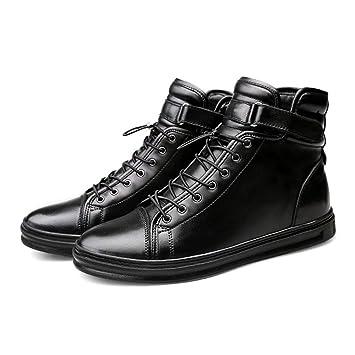 a1b324ae2e4c8 FLYMD Boston del Hombre Botas de Nieve para Hombres Hechos a Mano de Cuero  con Cordones (24cm-29cm) Botines (Color   Negro