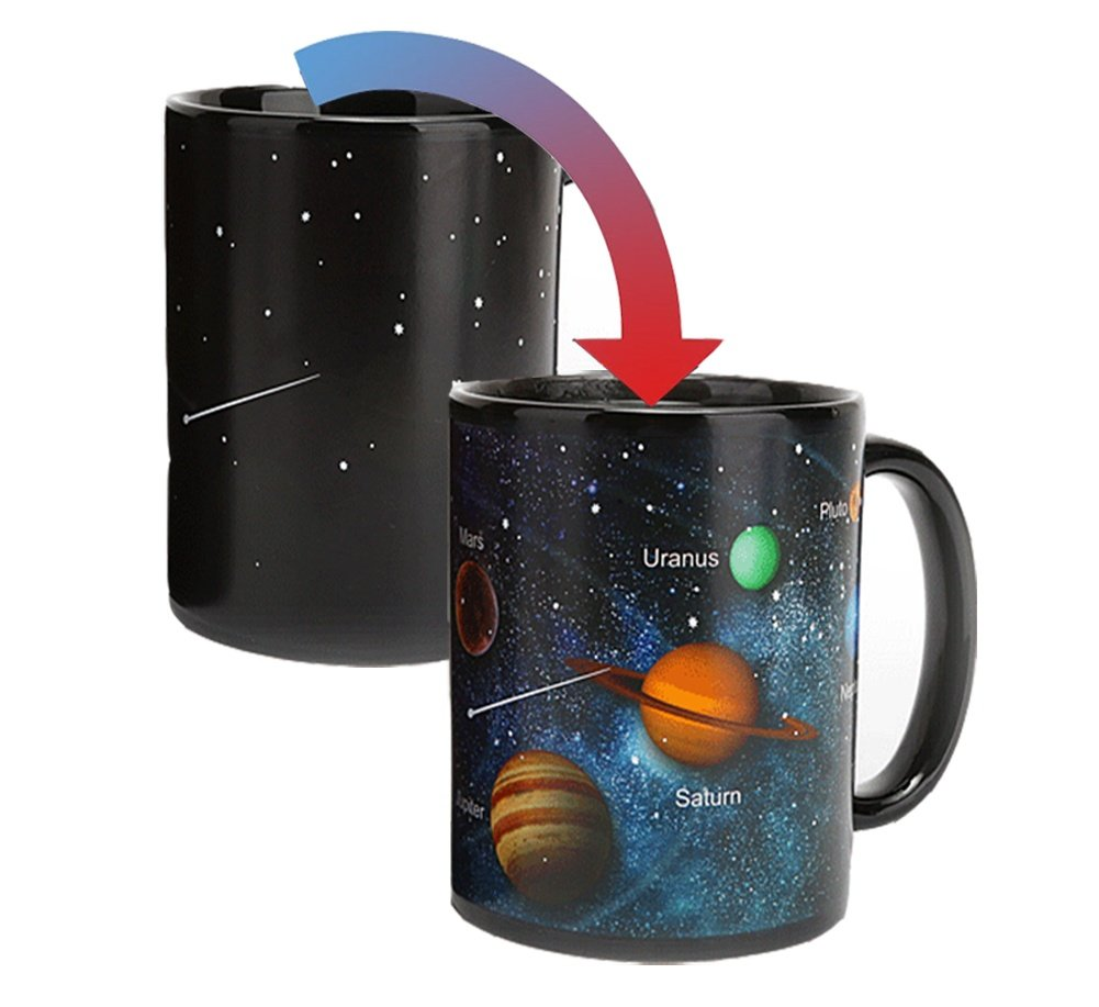 Momugs 12 Oz Solar System Magic Ceramic Coffee Mug Heat Sensitive Color Changing Porcelain Tea Morphing Cup Best Gifts for Friends