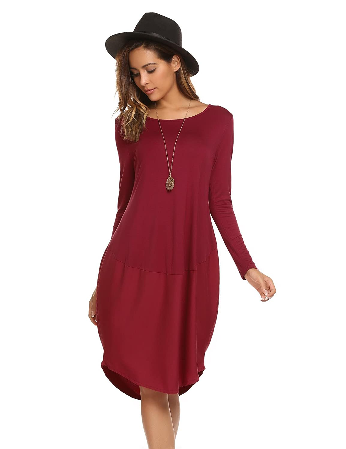 Meaneor Women's Casual Loose Fit Bubble Hem Dress Long Sleeve Tunic Dresses ##MAH017734