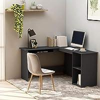 INLIFE L-Shaped Corner Desk Grey 120x140x75 cm Chipboard Computer Desk Laptop Study Writing Table Workstation for Home…