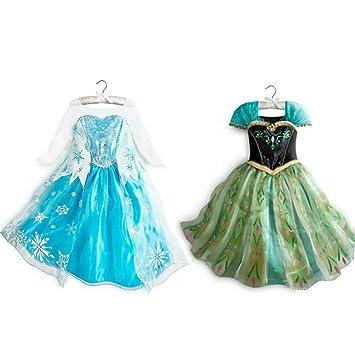 CUTEHILL -El Reino del Hielo Dos Vestidos de Princesas Elsa y Anna para Niñas,