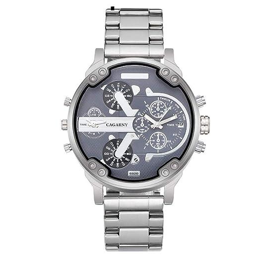 Reloj a Cuarzo analógico Reloj décontractée Reloj de Pulsera Reloj de Moda Vogue Relojes para Hombre Mujer Barcelet Acero Reloj con batería (Plata) X 1: ...