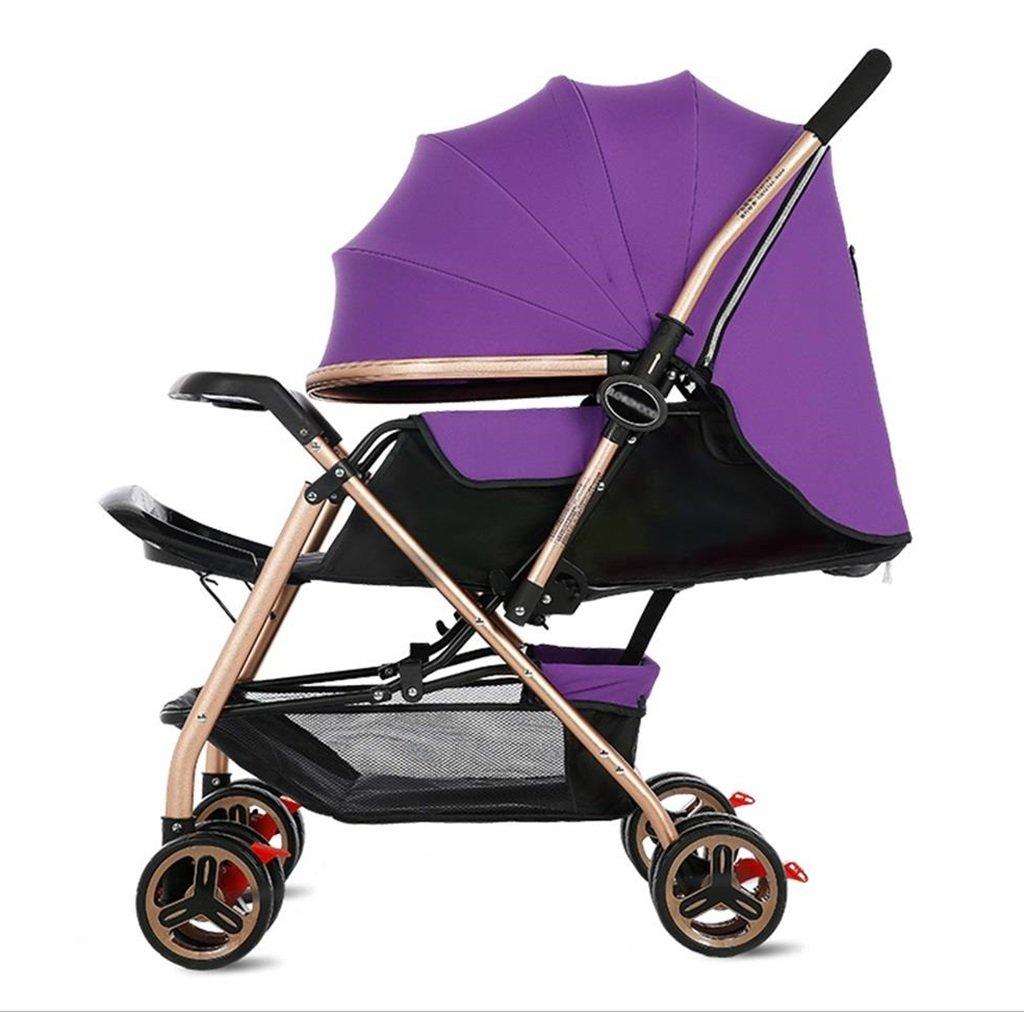 新生児の赤ちゃんキャリッジ折り畳み可能な座って、1ヶ月-5歳の赤ちゃんの2ウェイ8ホイールのためのダンピングベビーカートを横に振ることを避ける赤ちゃんトロリー目覚めを避ける (色 : パープル ぱ゜ぷる) B07DVBJ3VQ パープル ぱ゜ぷる パープル ぱ゜ぷる