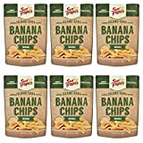 Sun Tropics Island Saba Banana Chips, Original, 3.5 oz, 6 Count, Vegan, Gluten Free, Non GMO, Made with Coconut Oil, Crispy Fruit Snacks