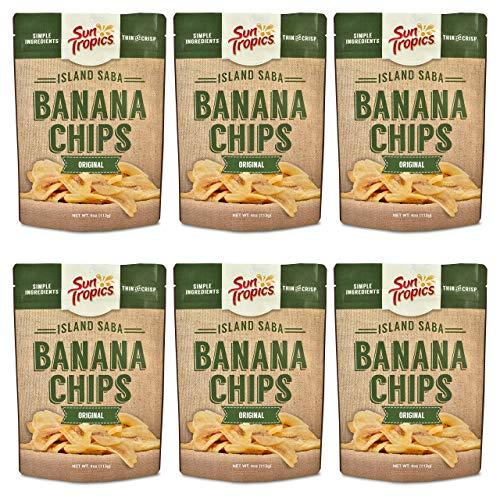 Sun Tropics Island Saba Banana Chips, Original, 3.5 oz, 6 Count, Vegan, Gluten Free, Non GMO, Made with Coconut Oil, Crispy Fruit Snacks (Best Banana Chips In The Philippines)