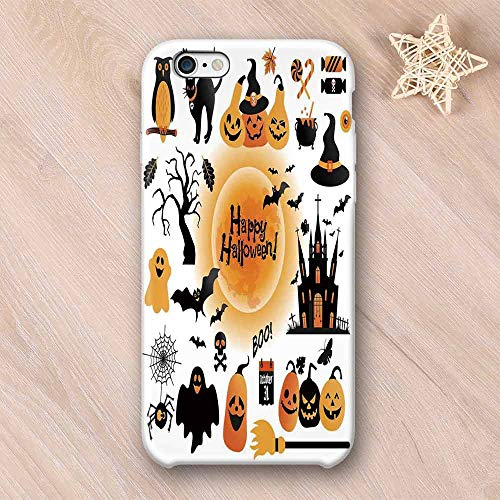 Halloween Decorations Compatible with iPhone Case,All Hallows Day Objects Haunted House Owl and Trick or Treat Candy Compatible with iPhone X,iPhone 6/6s