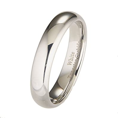 5mm white tungsten carbide polished classic wedding ring size 4 - Tungsten Carbide Wedding Rings