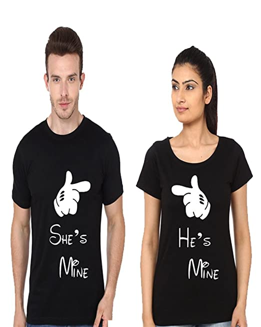 ADYK Cotton Couple T-Shirts He's mine She's Mine (Pack of 2)  polo tshirt 43% off