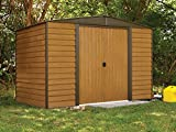 Arrow Woodridge Low Gable Steel Storage Shed, Coffee/Woodgrain 10 x 6 ft.