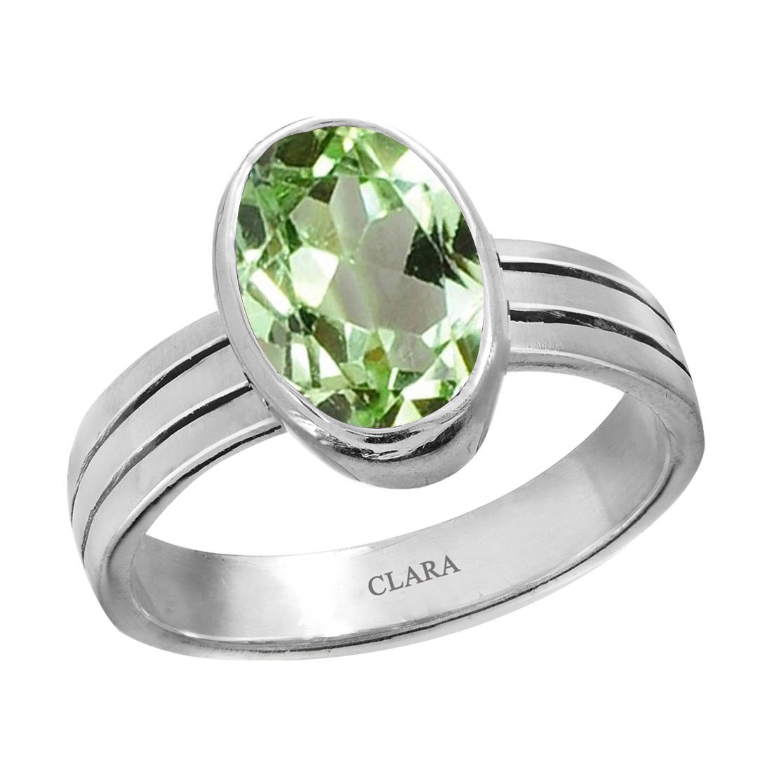 Clara Certified Peridot 8.3cts or 9.25ratti original stone Stunning Sterling Silver Astrological Ring for Men and Women by Clara