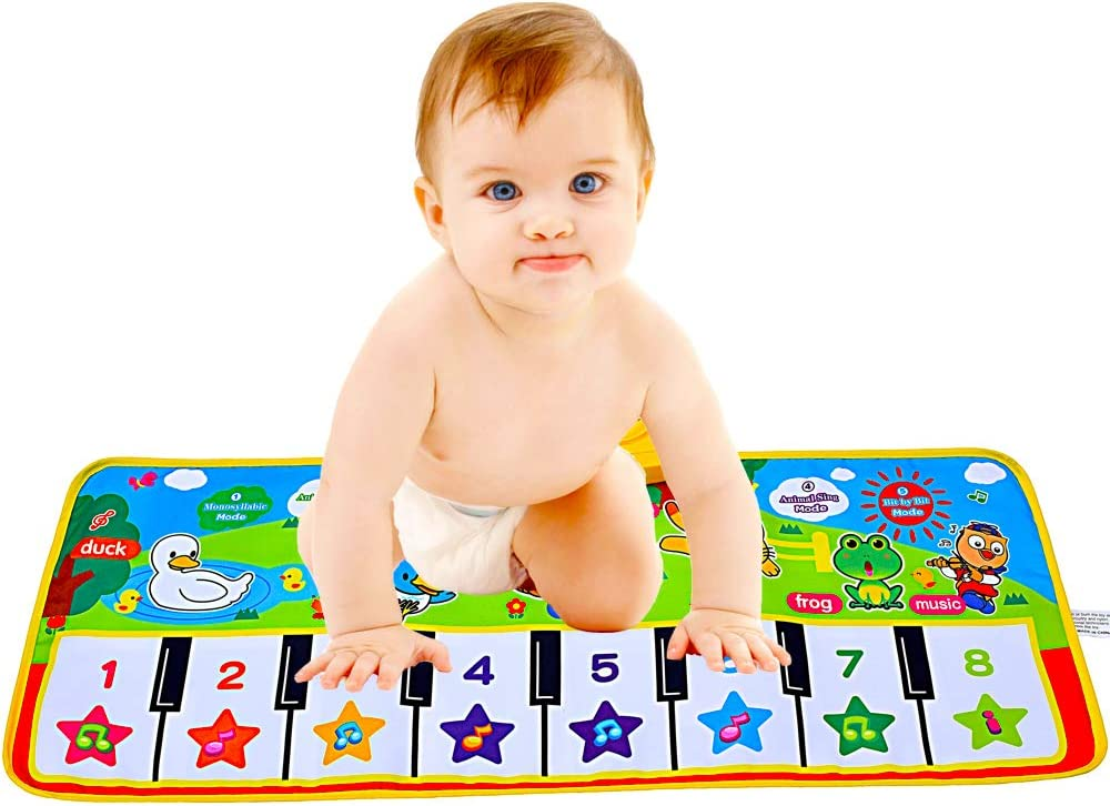 Music Keyboard Piano Mat Dance Floor Mat Carpet Blanket Educational Musical Toys for 3 Years Old Boys Girls Kids NEWSTYLE Kids Musical Mat 8 Music Instruments 39.5 x 14 Baby Touch Play Mat