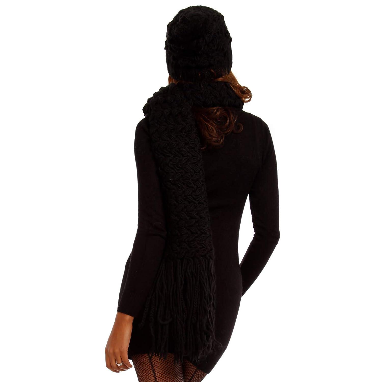 YC Fashion /& Style Damen Bommelm/ütze M/ütze mit Schal M/ützenset Strickm/ütze Kombiset Made in Italy Herbst Winter