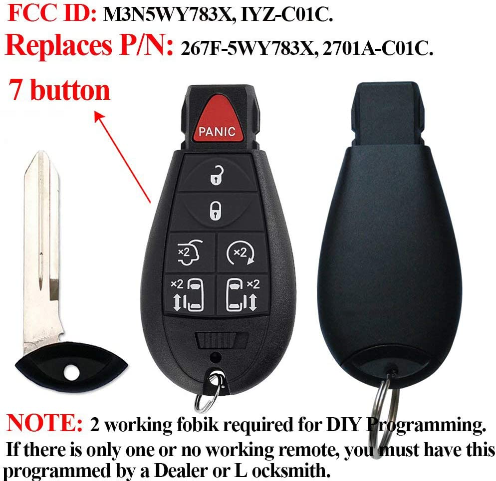 BESTHA for 2008-2015 Chrysler Town and Country 2008-2014 Dodge Grand Caravan Keyless Entry Remote Key Fob Replacement M3N5WY783X IYZ-C01C