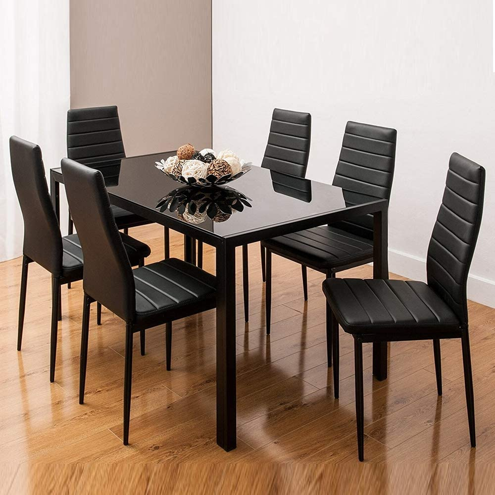 Amazon Com Ids Home 7 Piece Glass Top Dining Set For 6 Kitchen Table And Chairs Set Home Furniture Dinette Set Rectangular Table Black Kitchen Dining Room Furniture
