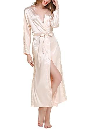 Dolamen Damen Morgenmantel Kimono Lange, Luxuriös Spitze glatte ...