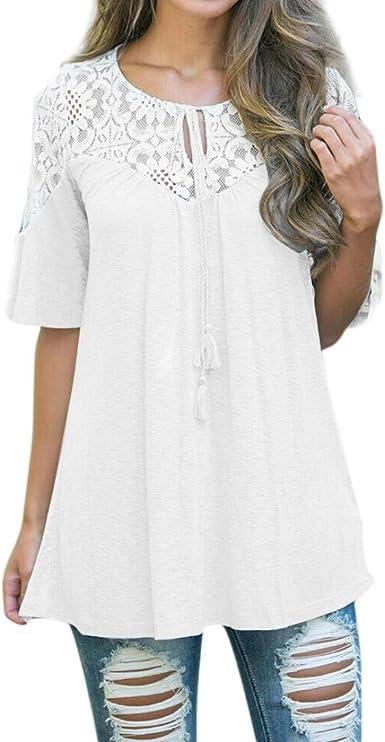 Fossen Mujer Camiseta de Manga Corta Encaje con Cordones Tops ...