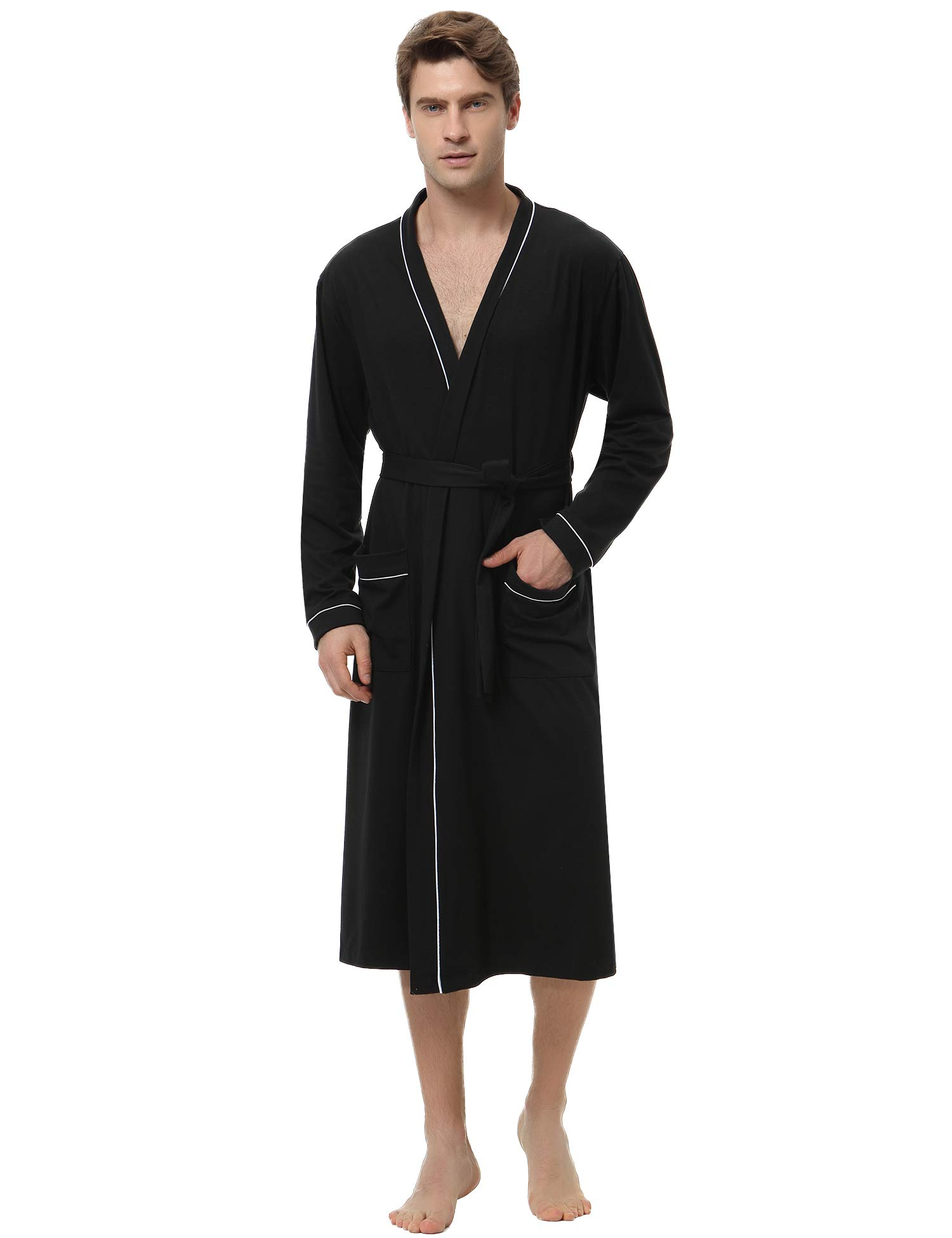 Aibrou Mens Cotton Robe Lightweight Long Lounge Sleepwear Knit Bathrobe
