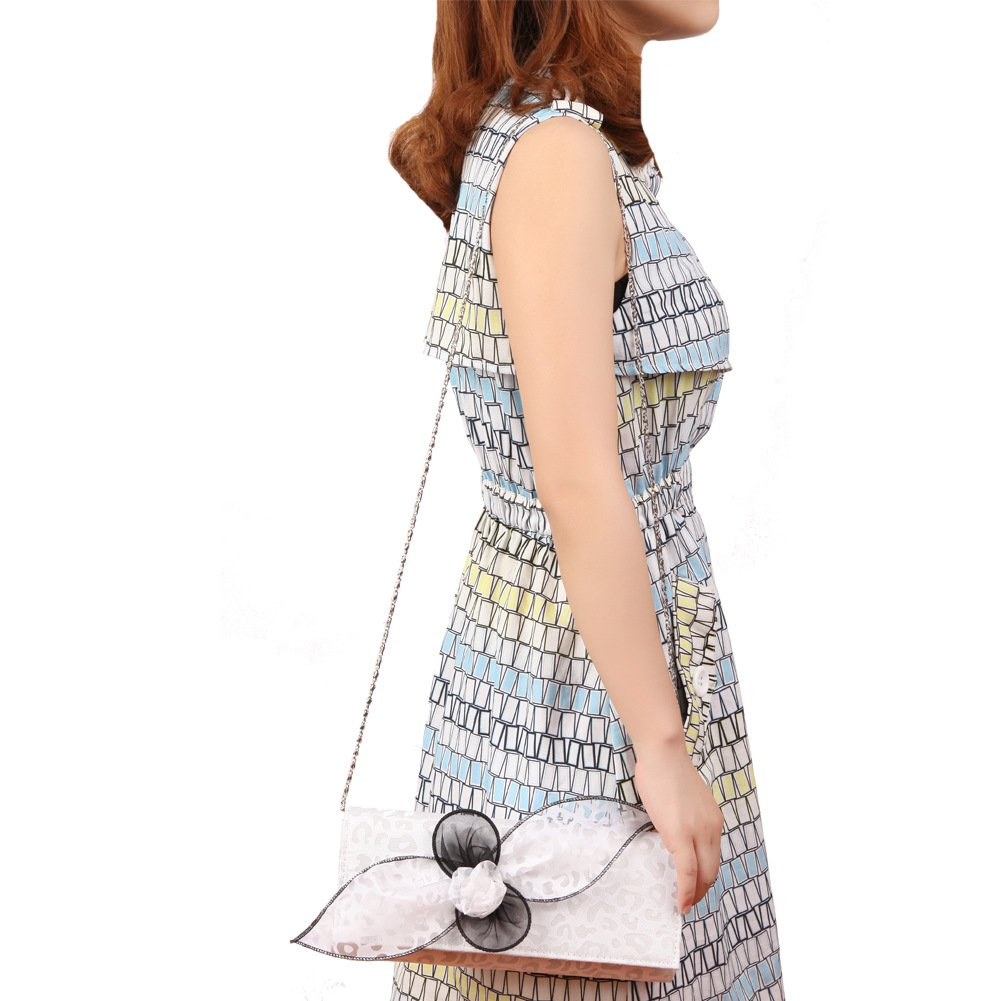 June's Young Women Lady Purse with Butterfly Flower White Color