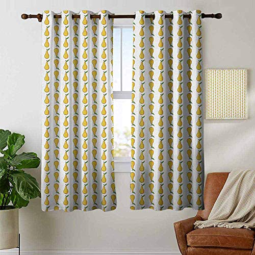petpany Blackout Curtains for Bedroom Pear,Pattern with Little Graphic Pears Up and Down Fresh Juicy Fruit, Pale Earth Yellow Green White,Darkening Grommet Window Curtain 1 Pair 42