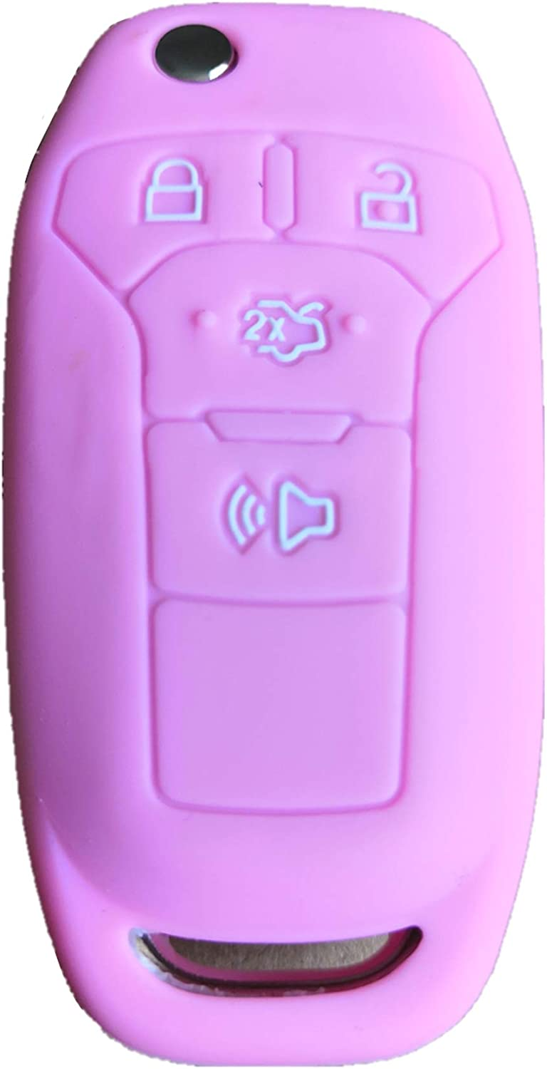 Pink Rpkey Silicone Keyless Entry Remote Control Key Fob Cover Case protector For 2013 2014 2015 2016 Ford Fusion N5F-A08TAA 164-R7986 3248-A08TAA
