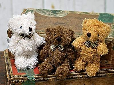 Adorable Fuzzy Furry Jointed Teddy Bear with Plaid Bow- Set of 4 from Unknown