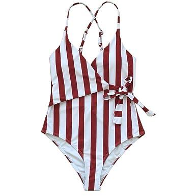 b70edd53e12ee Fantastic Zone Women s Cute White Stripe One-Piece Swimsuit Beach Swimwear  Bathing Suit Bikini