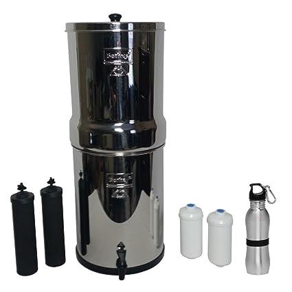 berkey water filter fluoride. Crown Berkey Water Filter Six Gallon Premium Bundle: 2 Black BB9 Filters, Fluoride E