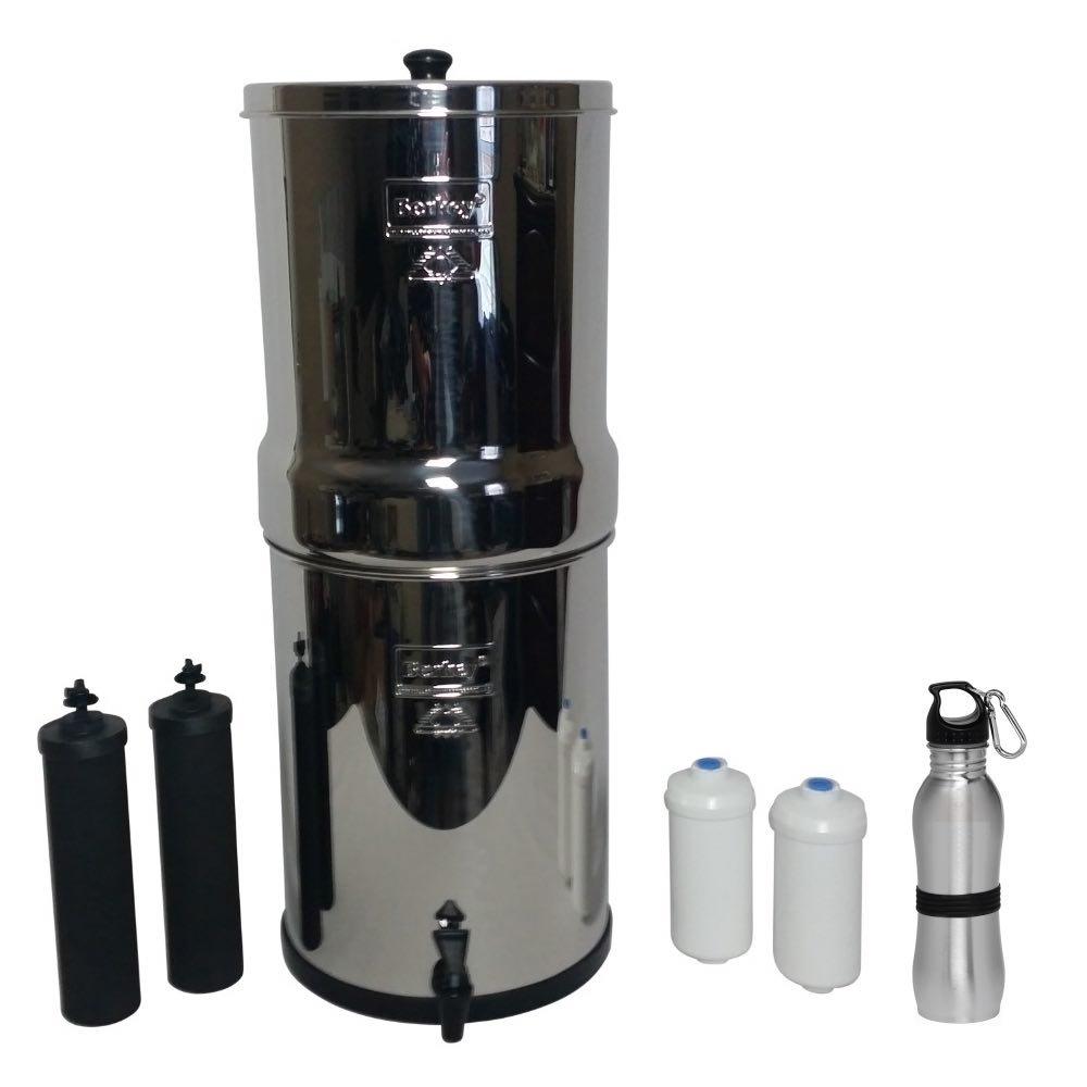 Crown Berkey Water Filter Six Gallon Premium Bundle: 2 Black BB9 Filters, 2 Fluoride PF2 Filters, 1 Stainless Steel Water Bottle