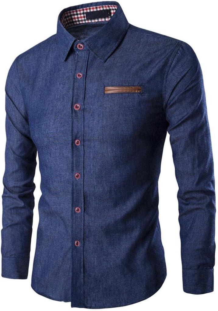 Camisas Hombre,Camisa de Manga Larga Casual para Hombre Camisa de Vestir Slim fit Camisa de Vaquero Blusa
