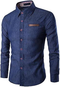 Camisas Hombre,Camisa de Manga Larga Casual para Hombre Camisa de Vestir Slim fit Camisa de Vaquero Blusa: Amazon.es: Deportes y aire libre