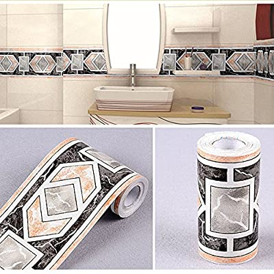 SimpleLife4U Modern Geometric Wallpaper Border Self Adhesive Wall Covering Borders Kitchen Bathroom Tiles Decor Sticker
