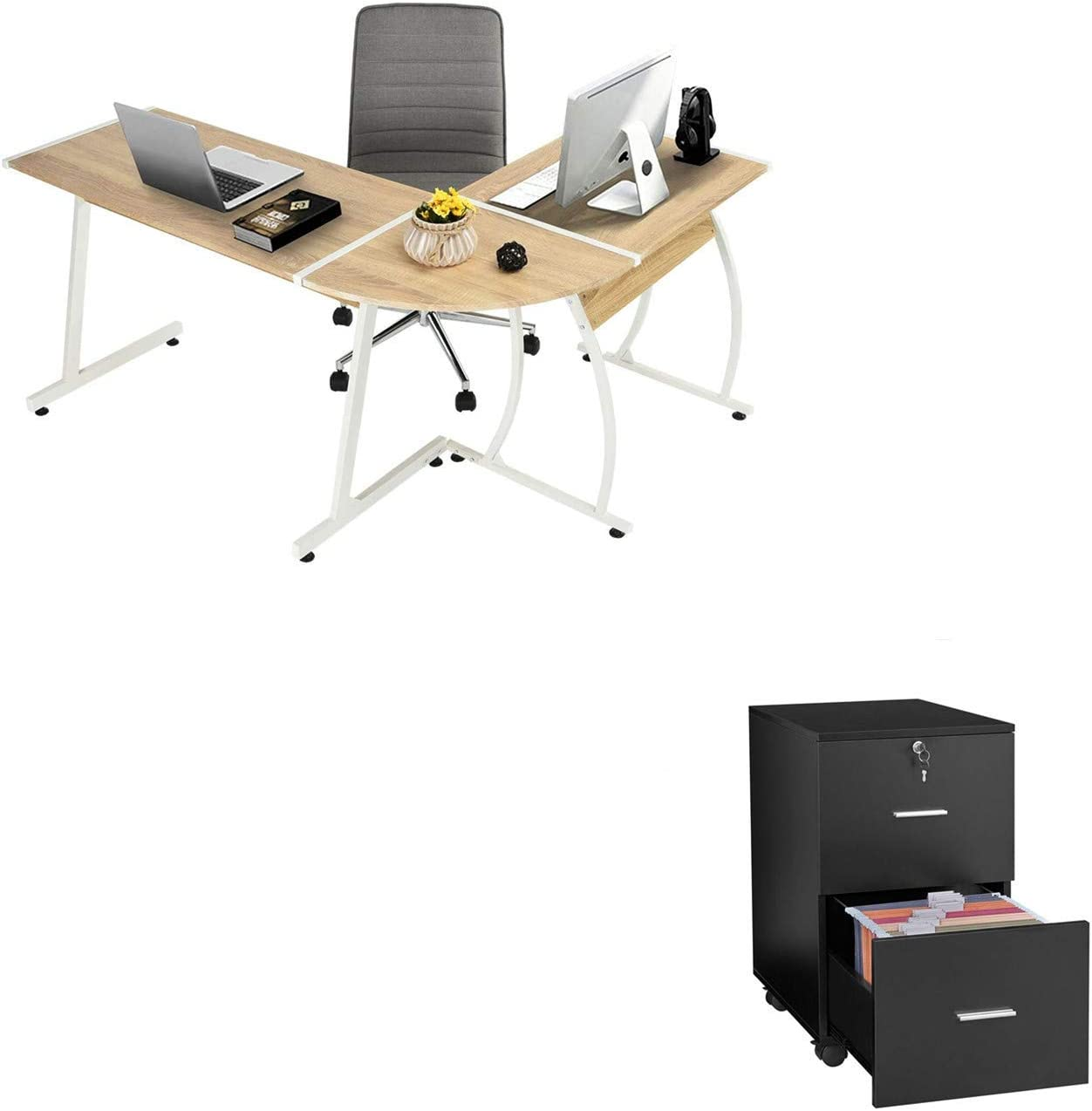 GreenForest L-Shaped 58.1'' Oak Gaming Computer Desk 3-Piece PC Laptop Table Writing Studying Working Workstation and 2 Drawer Black Wooden Vertical File Cabinet with Lock and Wheels
