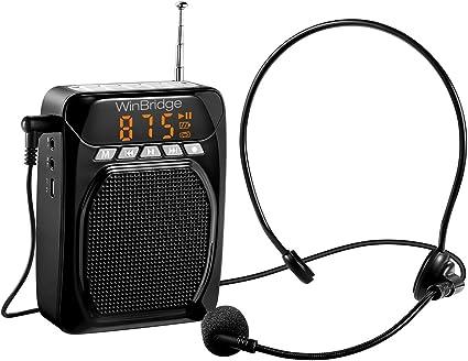Amplificador de voz WinBridge con auriculares con micrófono con cable y clip trasero, compatible con Bluetooth, grabación y FM, altavoz de 15 W/1800 mAh para profesores, guía turístico, canto: Amazon.es: Instrumentos musicales