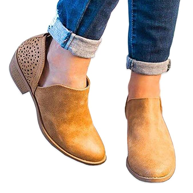 522e6b8e056 Amazon.com | V-DOTE Leather V Cut Hollow Out Low Heel Ankle Boots ...