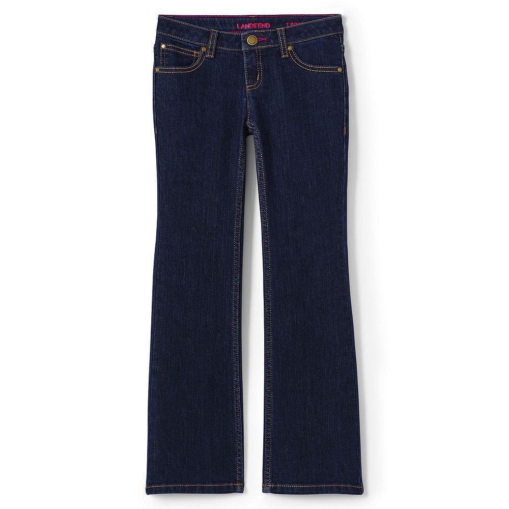 Lands' End Girls Slim 5 Pocket Bootcut Jeans, 10, Dark Blue Rinse