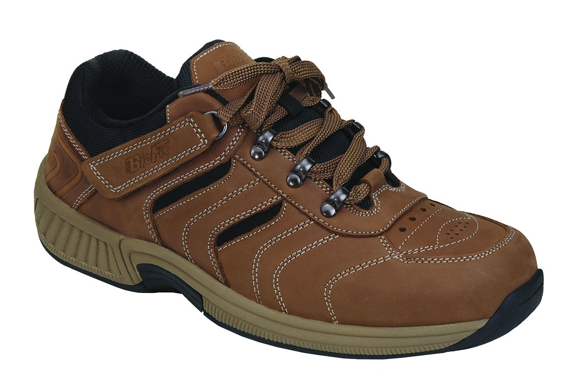 Orthofeet Plantar Fasciitis Pain Relief Arch Support Orthopedic Wide Diabetic Mens Outdoor Shoes Shreveport Brown by Orthofeet