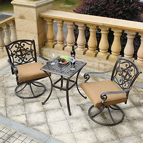 DOMI OUTDOOR LIVING Traditions 3-Piece Deep-Cushioned Outdoor Bistro Set, Includes 2 Deep Cushioned Swivel-Rockers and Bistro -