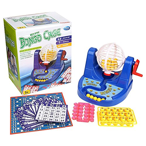 Game Cage Bingo Deluxe (Deluxe Bingo Cage Game Set Toy Lottery Party (w/ 70 diff Combinations & Markers))