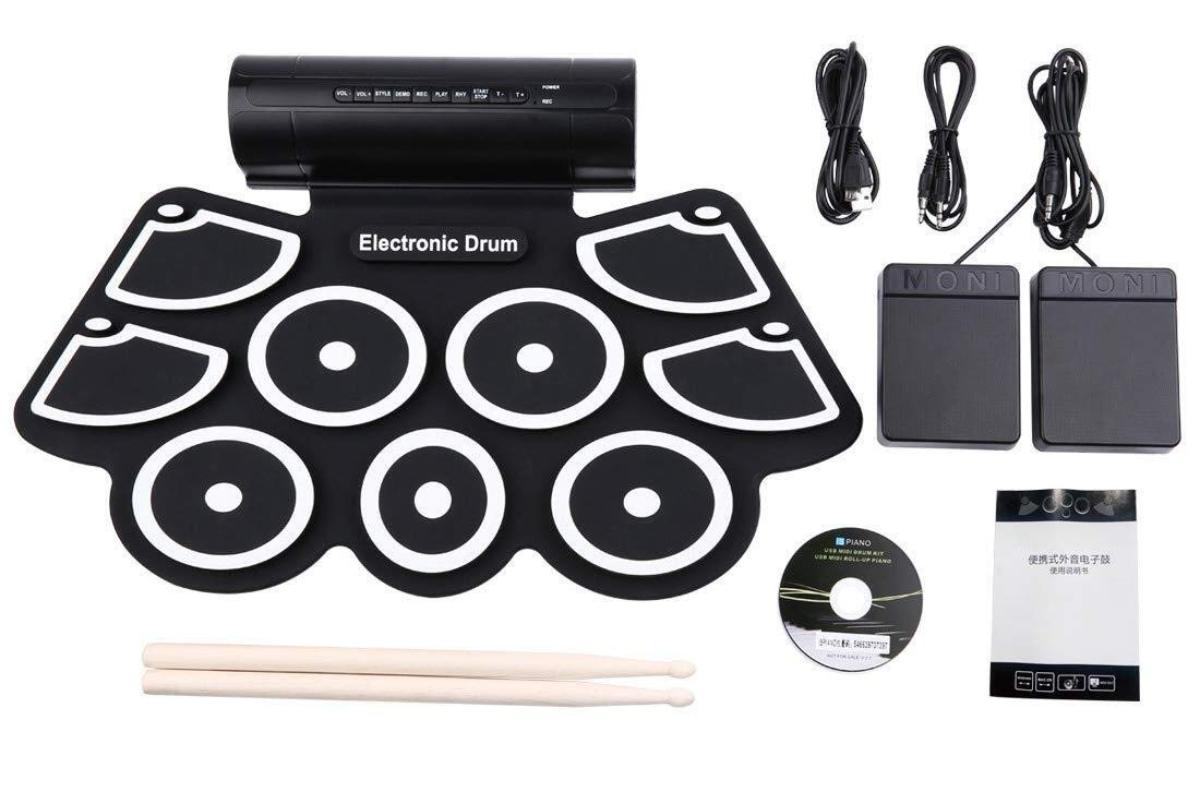 Electronic drum Set,Portable Drum Kit,Built in Stereo Dual Speakers 9 Pads Portable Electronic Roll Up Drum Pad Kits Foldable Practice Instrument Suitable for Beginners Adults