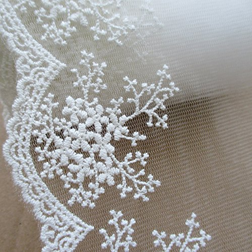 3 Yards 4-1/4 Inches Wide Cotton Embroidered Lace Trimming For Garment And DIY Craft Supply In (Chantilly Lace Fabric)