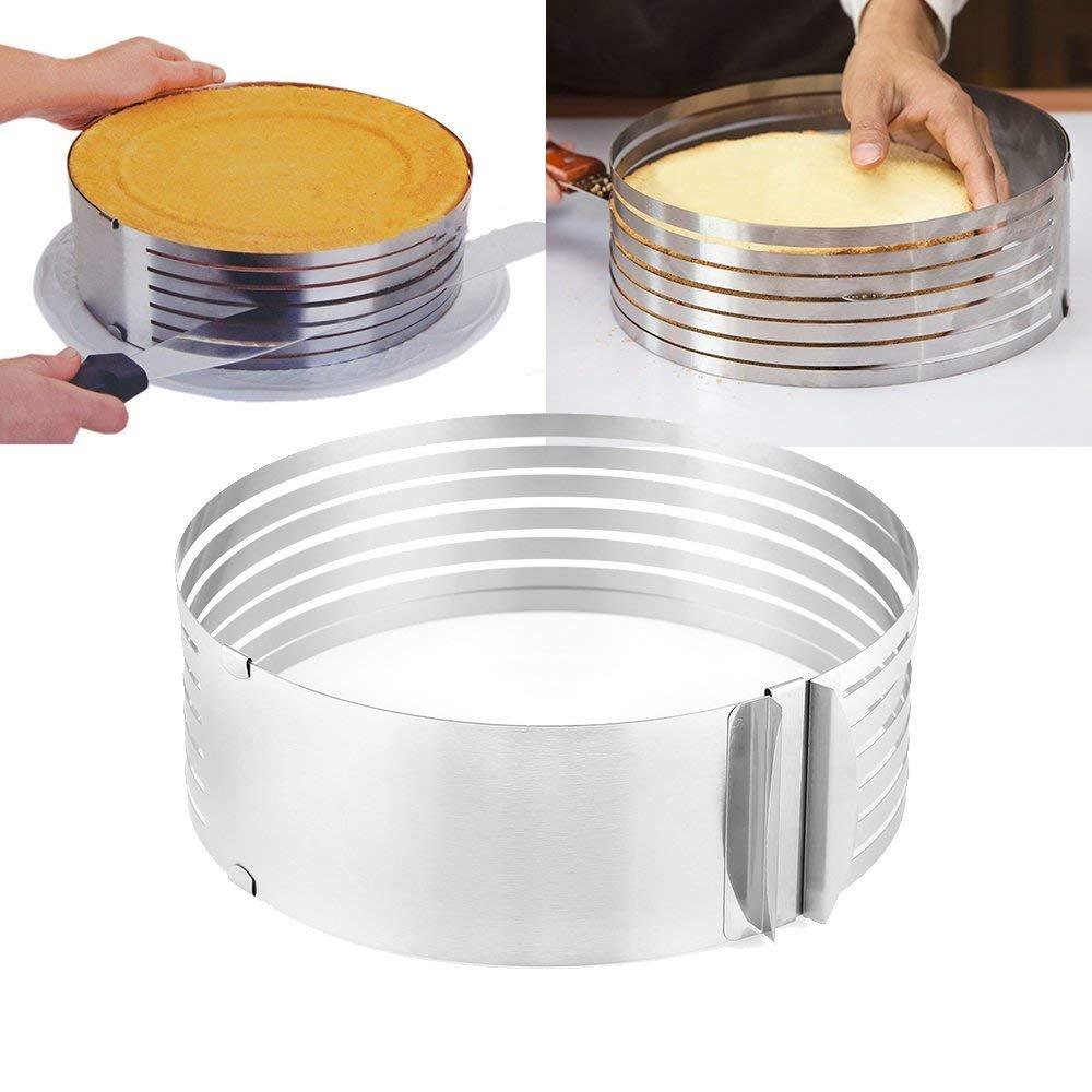 Layer Cake Slicer, UTEN Ajustable Stainless Steel Cake Slicer Mold Round Baking Kit,9 to 12 Inches
