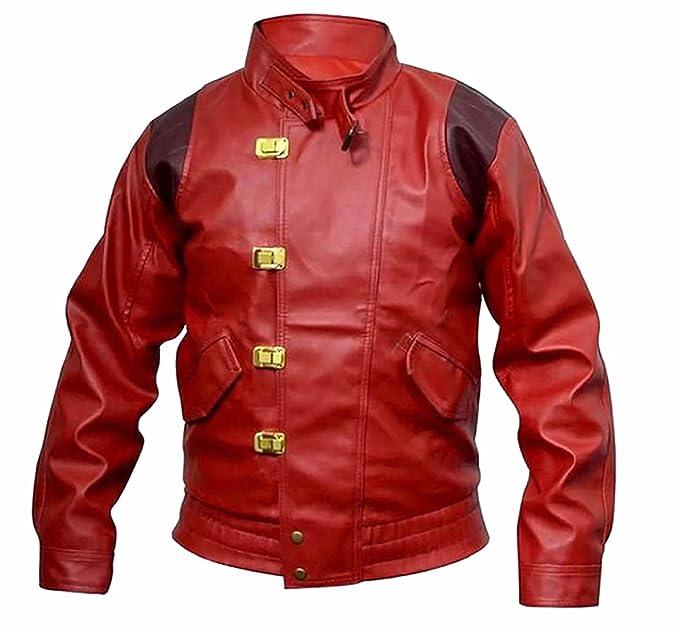 Classyak Akira Kaneda - Chaqueta de Piel para Hombre, Color Rojo Rojo Faux Red XS