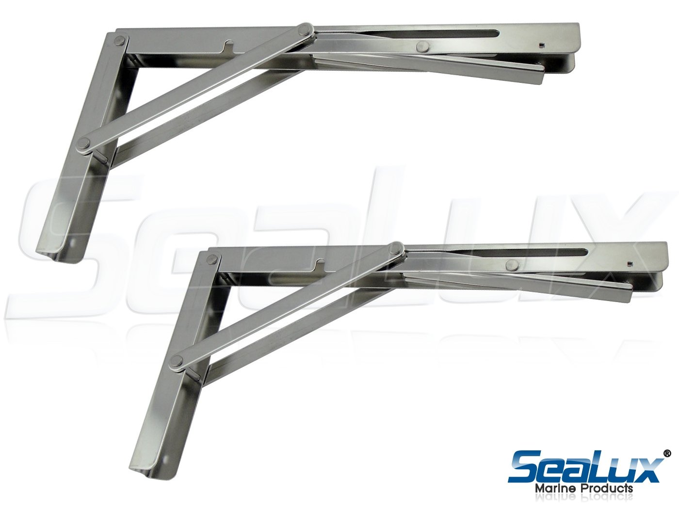 SeaLux Stainless Steel Folding Brackets 90 degree Shelf, Bench, Table Support 12'' Long with easy reach Long release Handle / Max. Bearing 330 lb (Sold as 2 pcs) by SeaLux Marine Products (Image #3)