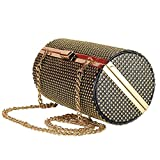 MOORGENE Punk Metal Style Golden Rivet Studded Clutch Bag Purse with Chain Strap for Party