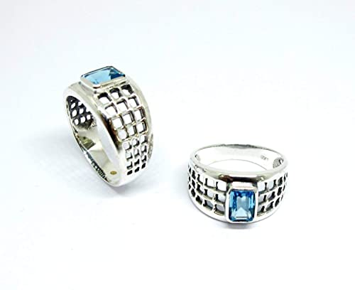 jewelry gift women silver ring Silver Sterling genuine blue topaz gemstone band ring handmade jewelry ring band