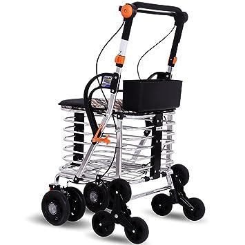 Andador de aluminio Walker plegable con ruedas (4 ruedas ...