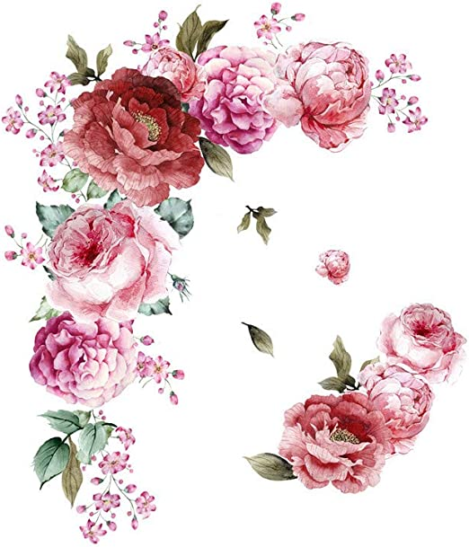New White Peony Rose Flower Blossom Removable Wall Stickers Decal Art Decor DIY