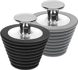 LEKEYE Universal Bathtub Stopper for Bathtub and Bathroom Sink Drains, Black and Gray-2 Pack