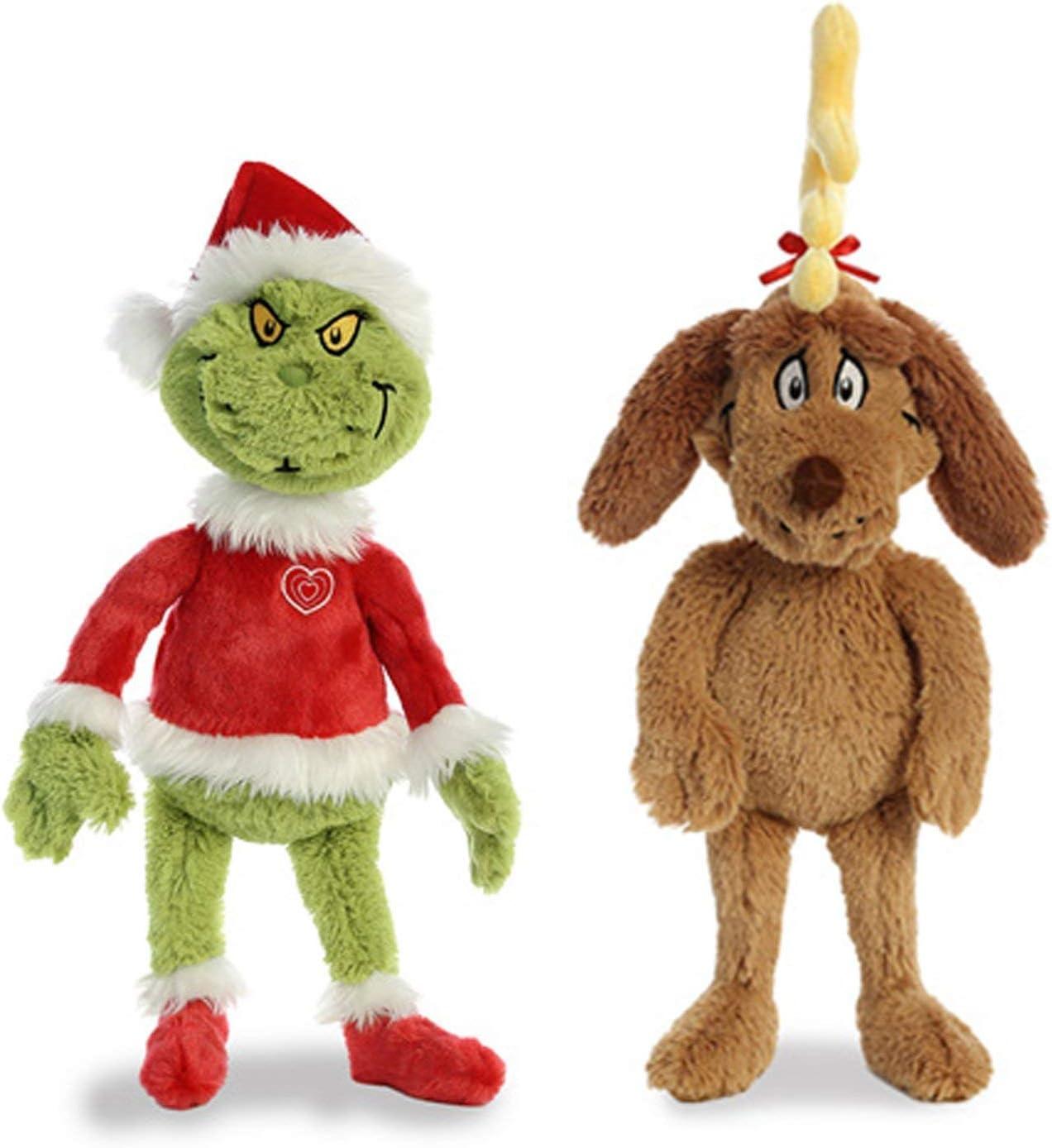 Amazon Com Aurora World Plush Bundle Of 2 18 Grinch Santa 18 Max With Antler Multicolor Toys Games